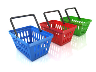 colorful shopping baskets isolated on white background