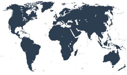 Midnight Blue Detailed World Map