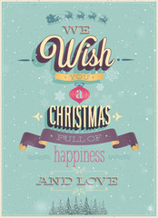 Wall Mural - Vintage Christmas Poster. Vector illustration.