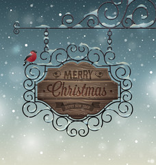 Wall Mural - Christmas vintage greeting card - wooden signboard.