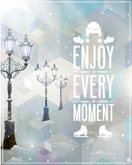 Wall Mural - Winter poster. Vector background.