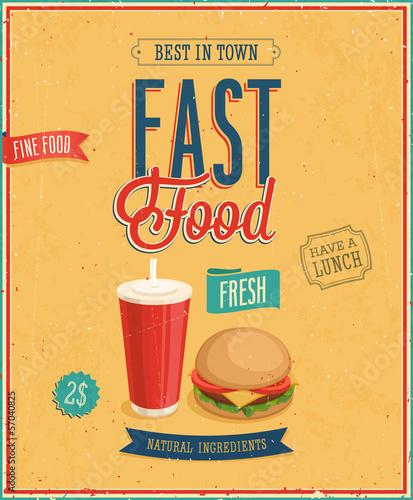 Wall mural Vintage Fast Food Poster. Vector illustration.