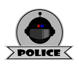 police template banner with helmet