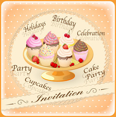 invitation with  cakes