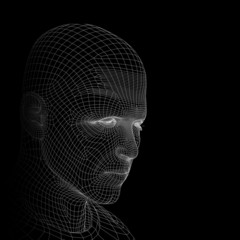 Conceptual wireframe mesh man face