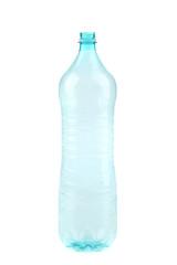 Empty opened plastic bottle.