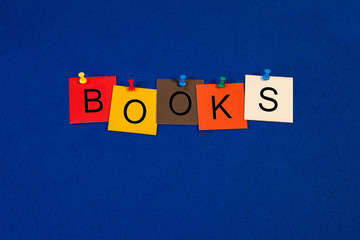 Books - sign for education, reading and business