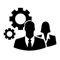 Business people with cogs icon