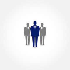 Businessman standing out from the group -leadership & HR concept