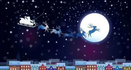 Vector Santa Claus Sleigh on sky background, cityscape nightsce