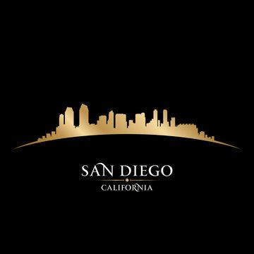 San Diego California city skyline silhouette black background