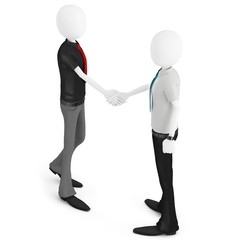 3d business man shaking hands meeting new people