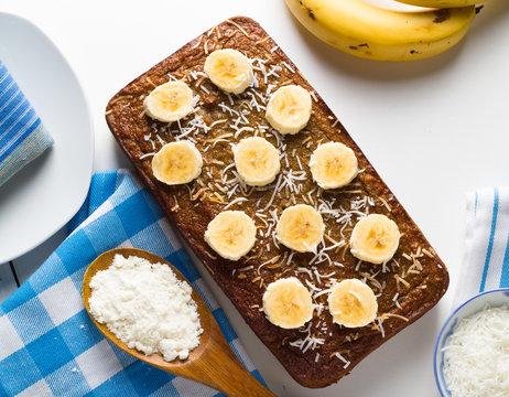Homemade organic banana bread with coconut flour