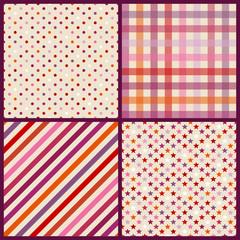 Collection 4 Seamless Birthday Pattern Retro Pink