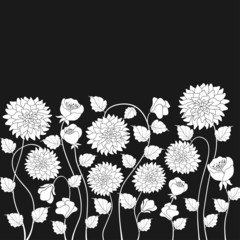 Photo sur cadre textile Floral noir et blanc Floral background
