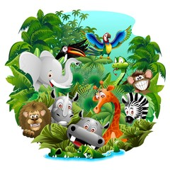 Door stickers Draw Wild Animals Cartoon on Jungle-Animali Selvaggi nella Giungla