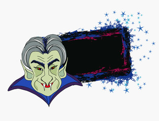 Cartoon Count Dracula , grunge Halloween frame