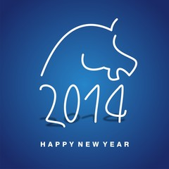 2014 year of horse blue vector