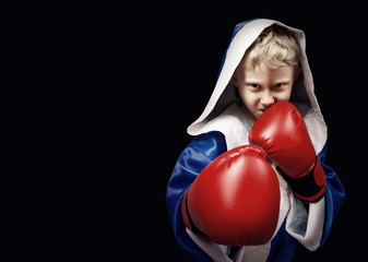 Danger looking little boxing fighter