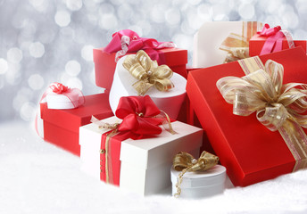 Pretty Christmas gifts with decorative bows