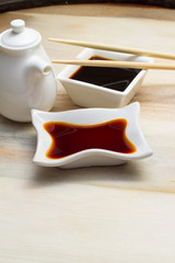 Soy sauce and bottle with chopsticks