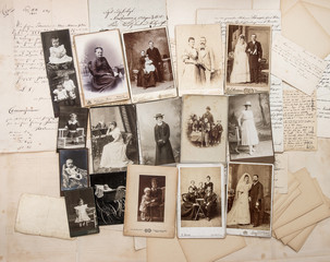 old letters and antique family photos