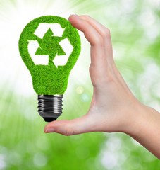 eco energy bulb in hand on green background