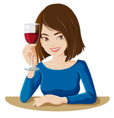 A lady holding a glass of red wine