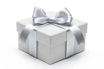 Gift box with silver ribbon bow