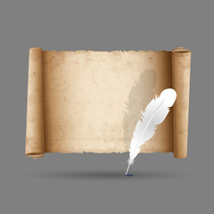 Ancient scroll paper with feather