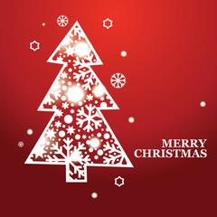 Vector Christmas banner with a Christmas tree