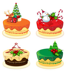 Four cake designs for christmas