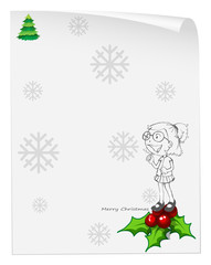 A christmas card template with a smiling girl above the poinsett