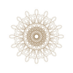 Decorative gold frame with vintage round patterns on white...