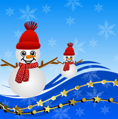bright beautiful christmas background with snow men