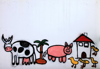 animales de granja graffiti  5984f