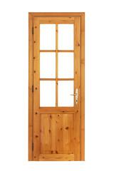 Wooden glazed door isolated on white background