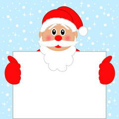 Santa claus with the clean sheet of paper