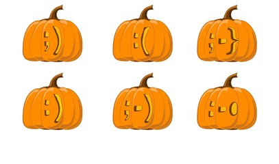 halloween pumpkin emoticon faces