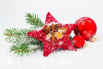 Bright christmas composition with red stars and red Christmas ba