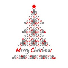 Modern christmas tree card with noughts and crosses, vector