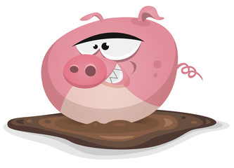 Toon Pig Wash In Pond Bath