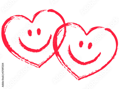 2 Rote Ineinander Verschlungene Smiley Herzen Vektor Stockfotos