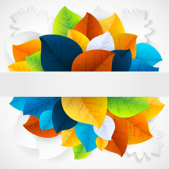 Autumn abstract rainbow leaf vector background makes fun of you