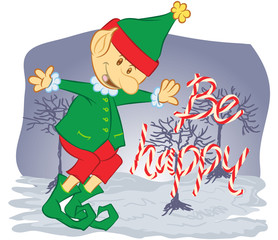 Illustration vector in cartoon of a christmas elf