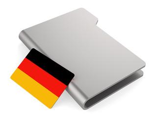 white folder icon and flag