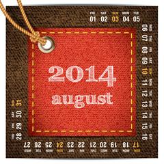 2014 year calendar stylized jeans. August