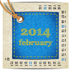 2014 year calendar stylized jeans. February