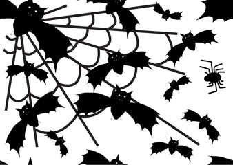 Vector  halloween bat and spider background