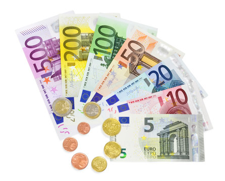 banknotes and coins euro - isolated